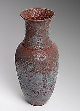 Vase with Red Inlay by Carol Green (Metal Vase)