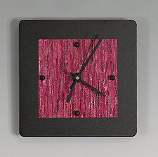 Mini Shelf Clock on Black by Linda Lamore (Painted Metal Clock)