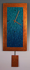 Copper Teal Ocean Blend Pendulum Clock by Linda Lamore (Painted Metal Clock)
