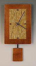 Copper Yellow Pendulum Clock by Linda Lamore (Painted Metal Clock)