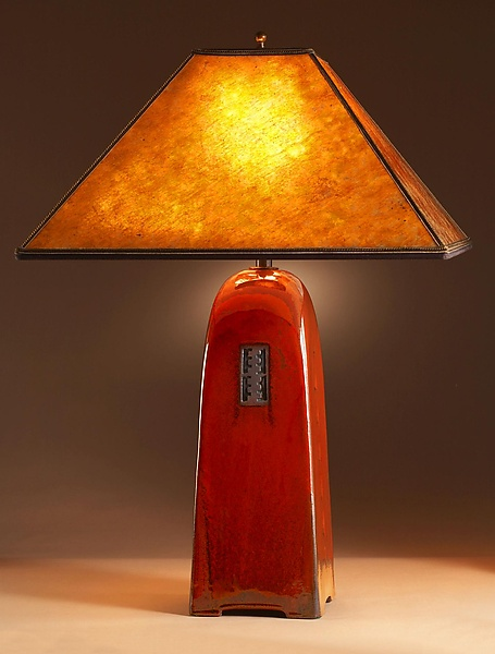 """Russet Lamp with Silver Mica Shade"""