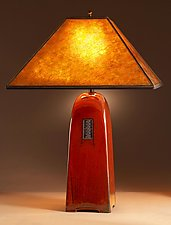Russet Lamp with Mica Shade by Jim Webb (Ceramic Lamp)