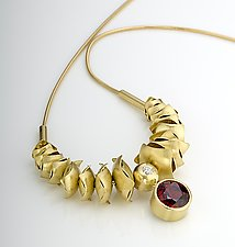 Pyrope Garnet & Diamond Fluid Necklace by Junko Nakazawa (Gold & Stone Necklace)
