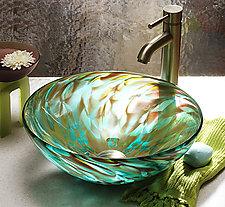 Aqua Iris by Suzanne Guttman (Art Glass Sink)