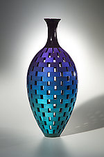 Blue Teal Bottle by Joel Hunnicutt (Wood Sculpture)