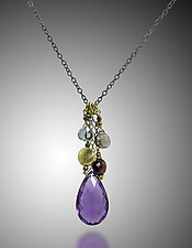 Amethyst, Garnet, Topaz and Quartz Necklace by Judy Bliss (Gold & Stone Necklace)