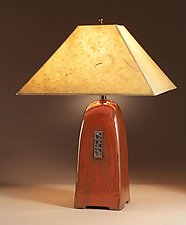 Russet Lamp with Havana Lokta Shade by Jim Webb (Ceramic Lamp)