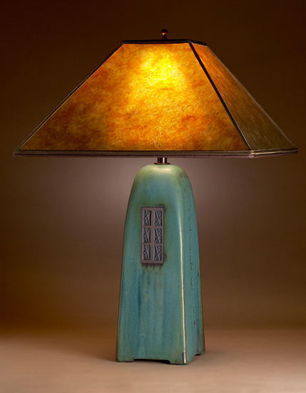 Viridian Lamp with Amber Mica Shade
