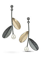 Greek Leaf Earrings by Jamie Cassavoy (Silver & Bi-Metal Earrings)