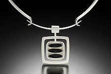 Black Stripe Pendant by Amy Faust (Silver & Glass Pendant)