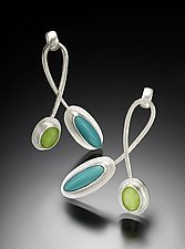 Twist Earrings by Amy Faust (Silver & Glass Earrings)