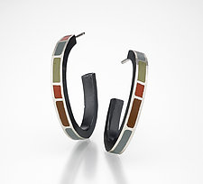 Colorblock Hoops by Susan Kinzig (Silver & Polymer Earrings)