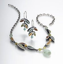 Leaf Necklace by Susan Kinzig (Silver, Stone & Polymer Necklace)
