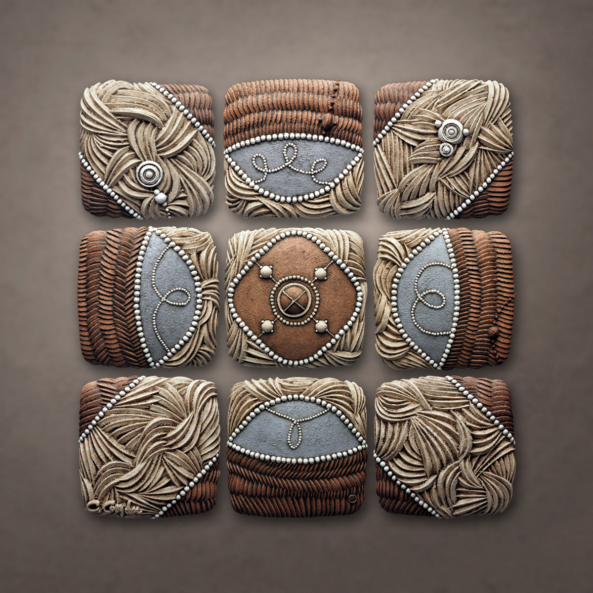 Mountain Pattern By Christopher Gryder Ceramic Wall Art