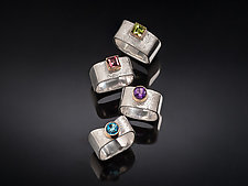 Scribbled Large Stacker and Colors by Chi Cheng Lee (Gold, Silver & Stone Ring)