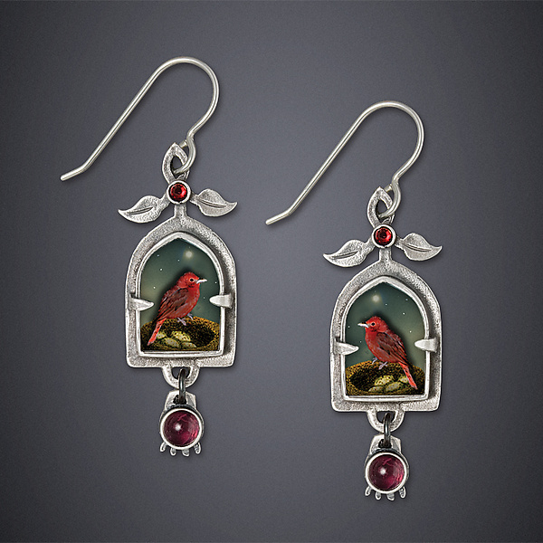 Tanager and Pomegranate Earrings