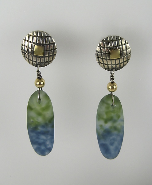 Textured Disk with Drop Pod Earrings in Denim and Pine