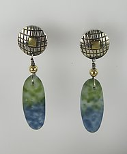 Textured Disk with Drop Pod Earrings in Denim and Pine by Carol Martin (Gold, Silver & Art Glass Earrings)