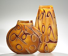 Lascaux: Amber by Thor Bueno (Art Glass Vase)