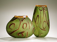 Lascaux: Jade by Thor Bueno (Art Glass Vase)