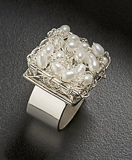 Crocheted Square Top Ring by Randi Chervitz (Silver & Pearl Ring)