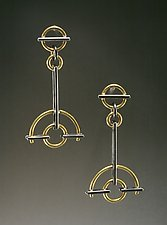 Semi-Circle Earrings by Ben Neubauer (Silver & Gold Earrings)