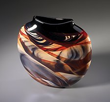 Red Medallion Vase by Mark Rosenbaum (Art Glass Vase)