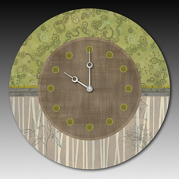 Topography Clock in Green