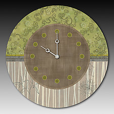 Topography Clock in Green by Janna Ugone and Justin Thomas (Mixed-Media Clock)