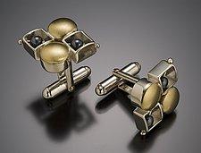 Round Square Checkerboard Cuffs by Danielle Miller (Silver & Gold Cuff Links)