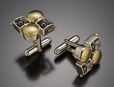 Round Square Checkerboard Cuffs by Danielle Miller (Silver & Gold Cuff Links)