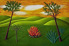 Landscape with Fire by Jane Troup (Oil Painting)