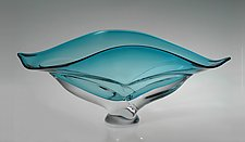 Wave Bowl, Turquoise by Ed Branson (Art Glass Vessel)