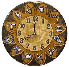 Zodiac Ceramic Wall Clock in Brass & Amber Glaze Color by Beth Sherman (Ceramic Clock)