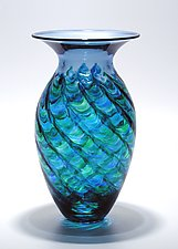 Optic Ribbed Vortex Vase: Ocean by Michael Trimpol and Monique LaJeunesse (Art Glass Vase)