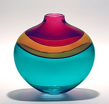 Flat Banded Vase: Blue by Michael Trimpol and Monique LaJeunesse (Art Glass Vase)