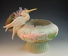 Jade Heron Water Lily Bowl by Nancy Y. Adams (Ceramic Sculpture)