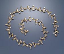 Multi-leaf Necklace with Pearls by Ellen Vontillius (Gold & Pearl Necklace)
