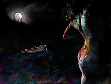 Nude Dancer In the Moonlight by Michael Williams (Color Photograph)