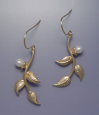 Multi-leaf Earrings with Pearls by Ellen Vontillius (Gold Earrings)