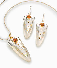 Shield Necklace & Pendant by Linda Smith (Silver, Gold & Stone Necklace)