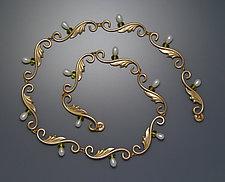 Deco Necklace with Pearls by Ellen Vontillius (Gold & Pearl Necklace)