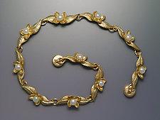 Two Leaf and Bloom Bracelet by Ellen Vontillius (Gold & Pearl Bracelet)