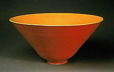 Red & Buttercup Raku Bowl by Amber Archer (Ceramic Bowl)