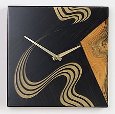 Kyoto Square Wall Clock by Ingela Noren and Daniel  Grant (Painted Wood Clock)
