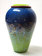 Blossom Meadow Egg by Ken Hanson and Ingrid Hanson (Art Glass Vase)