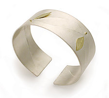 Minimal Leaf Cuff by Jamie Cassavoy (Silver Cuff)