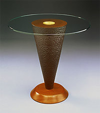 Geode Side Table by David Kiernan (Mahogany table with glass top)