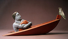 Sinking Man in Red Boat by Steve Gardner (Ceramic Sculpture)
