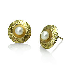 Disk Studs with Bottom Pearl Earrings by Keiko Mita (Gold & Pearl Earrings)